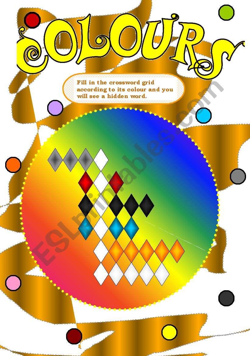 COLOURS CROSSWORD worksheet