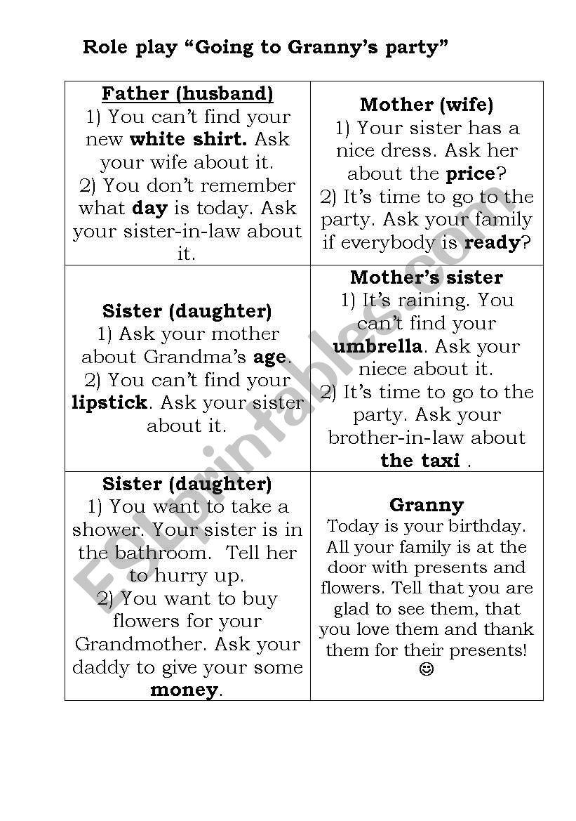 worksheet Family Roles Worksheet english worksheets family role play worksheet