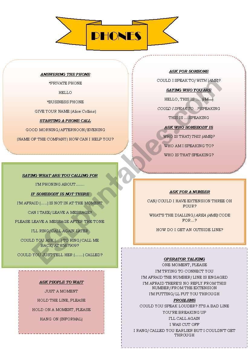 PHONES worksheet