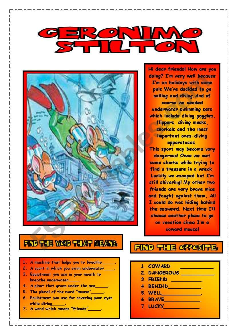 READING COMPREHENSION.GERONIMO IS DIVING.( editable texts)
