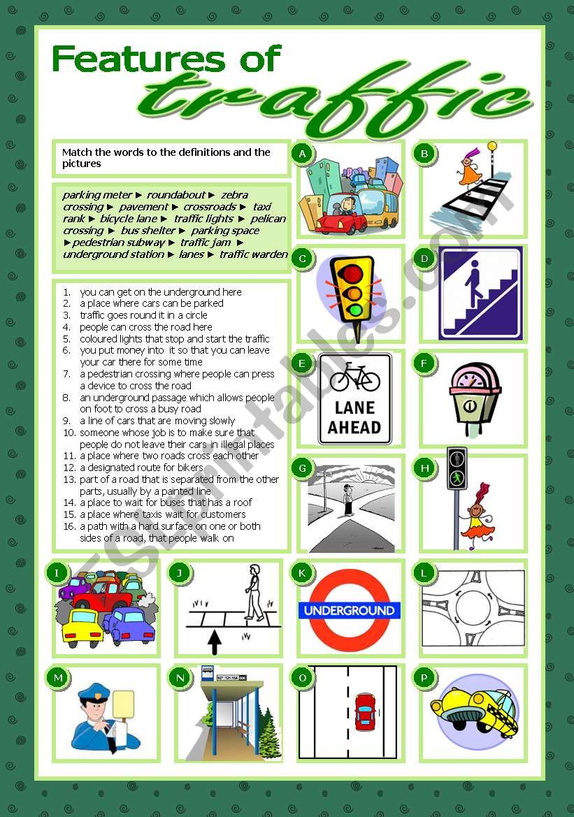 Features of traffic worksheet