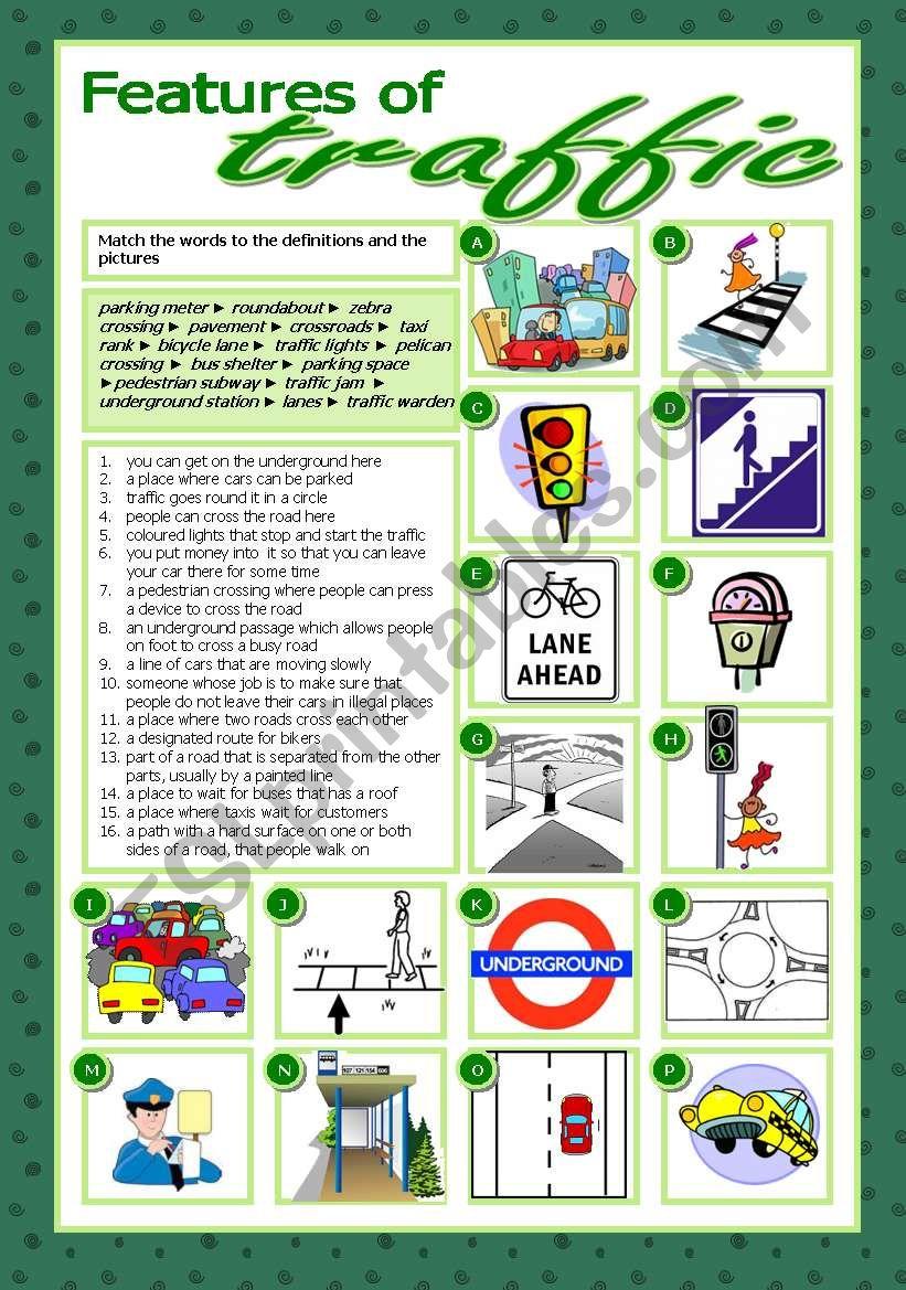Features Of Traffic Esl Worksheet By Tecus