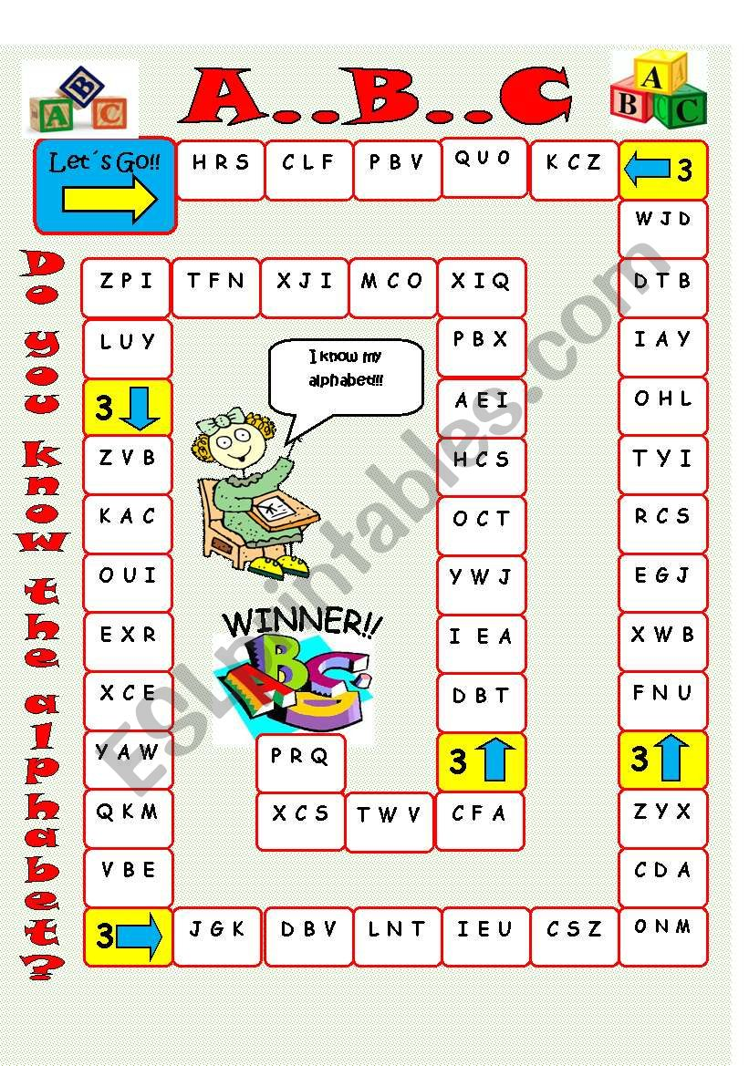 alphabet board game esl worksheet by imelda. Black Bedroom Furniture Sets. Home Design Ideas