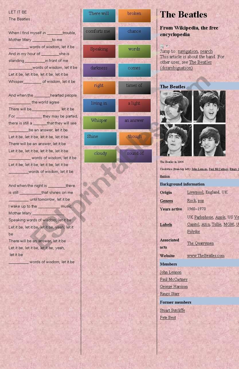 SONG: Beatles - LET IT BE worksheet