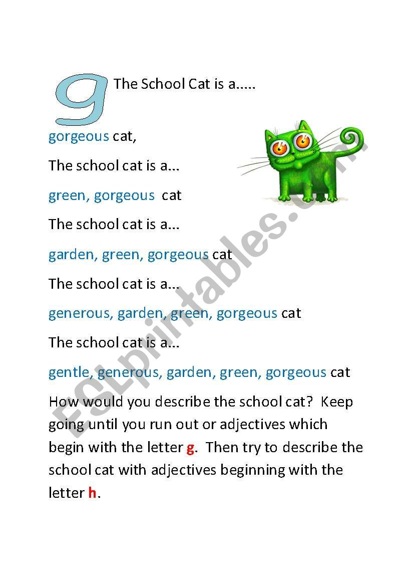 The School Cat - Part Two worksheet
