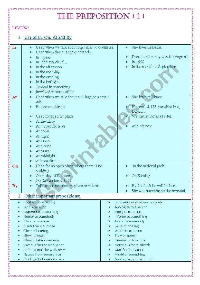 Preposition 1 worksheet