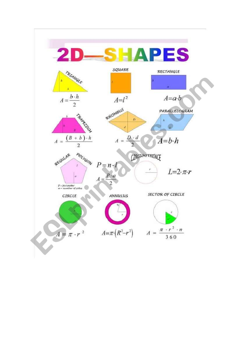 english worksheets  area and perimeter 2d shapes