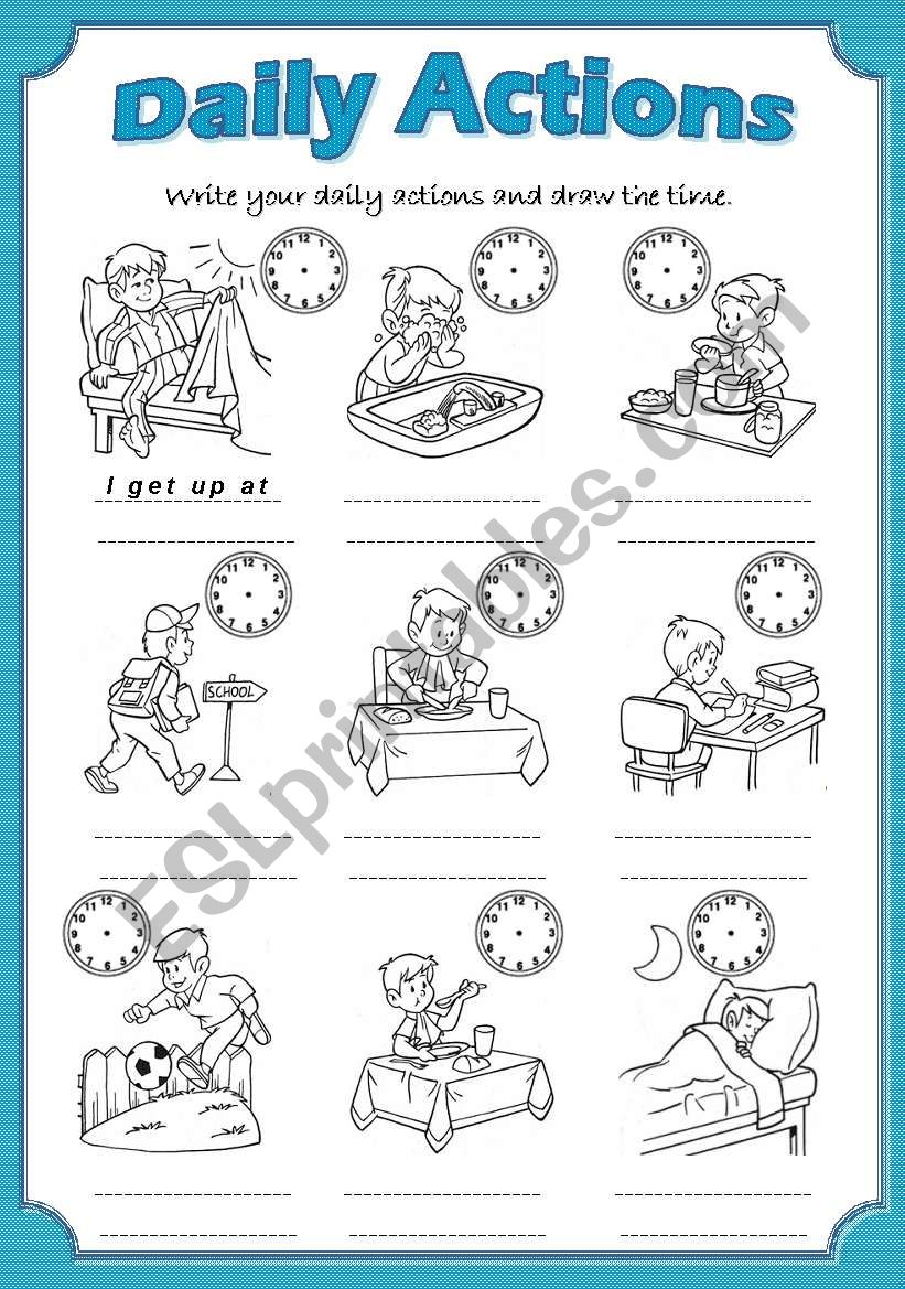 Daily Actions worksheet