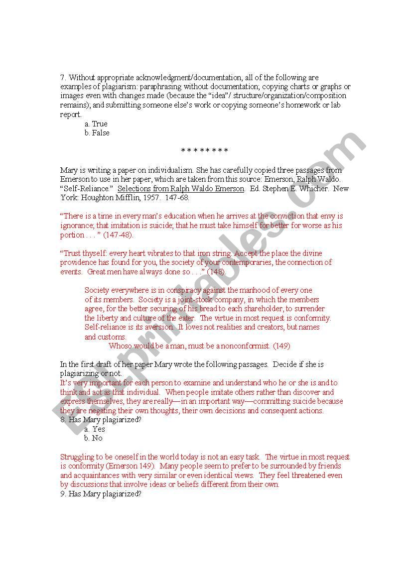 English worksheets: Plagiarism Quiz