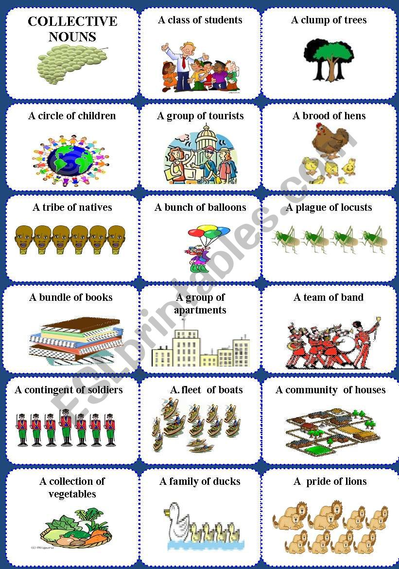 Collective nouns 1 of 2 worksheet