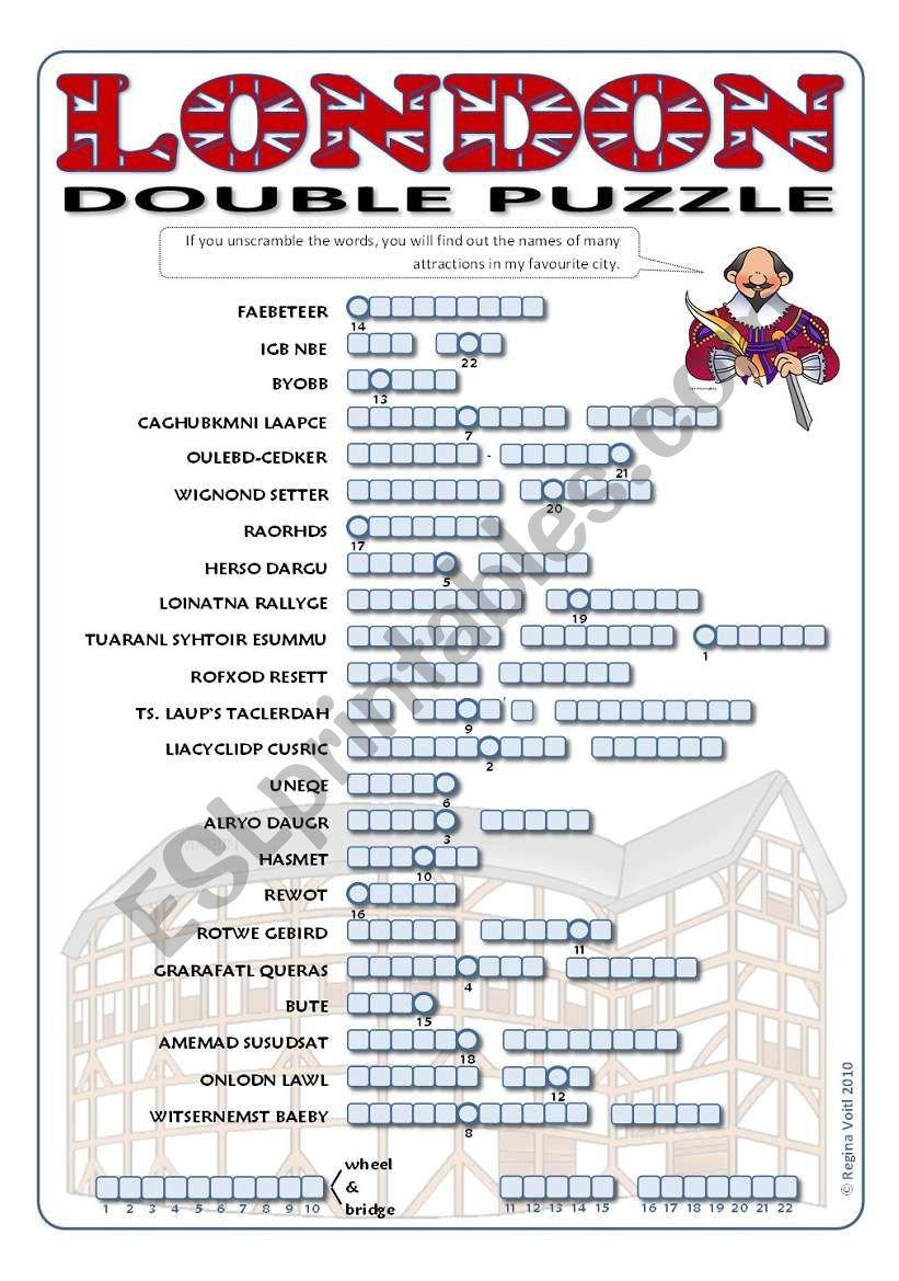 London attractions double puzzle (Millennium Wheel/Bridge - Globe Theatre)