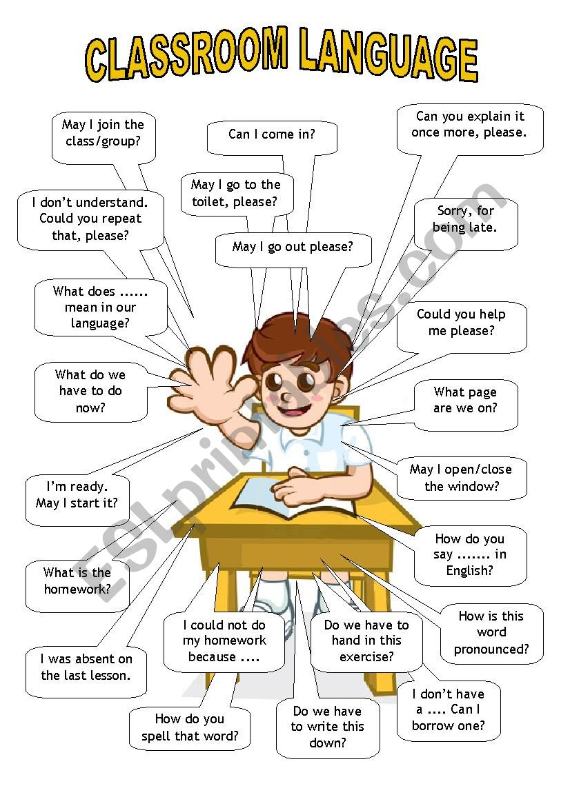 classroom language student esl worksheet by htunde. Black Bedroom Furniture Sets. Home Design Ideas