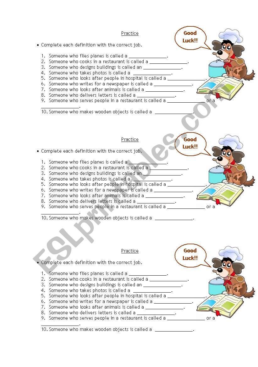 Jobs definitions worksheet