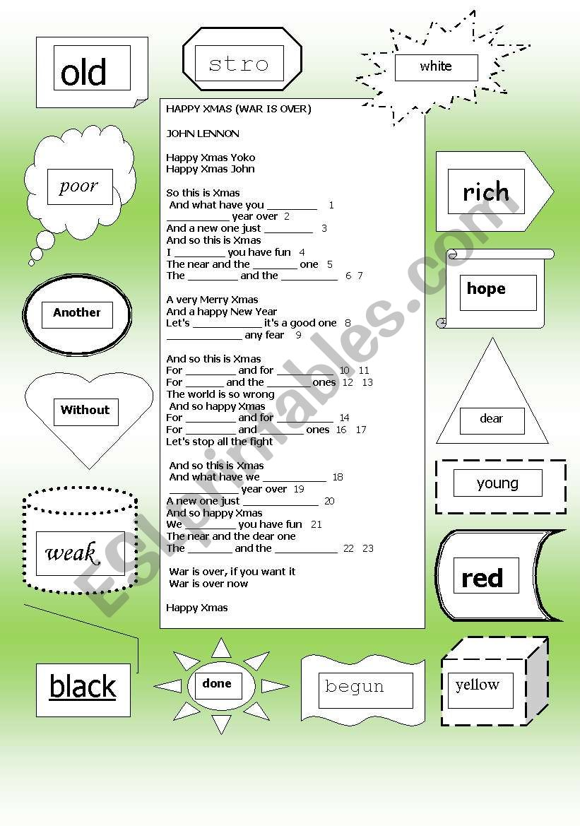 SONG: JOHN LENNON - (WAR IS OVER) HAPPY XMAS - ESL worksheet by lwymax