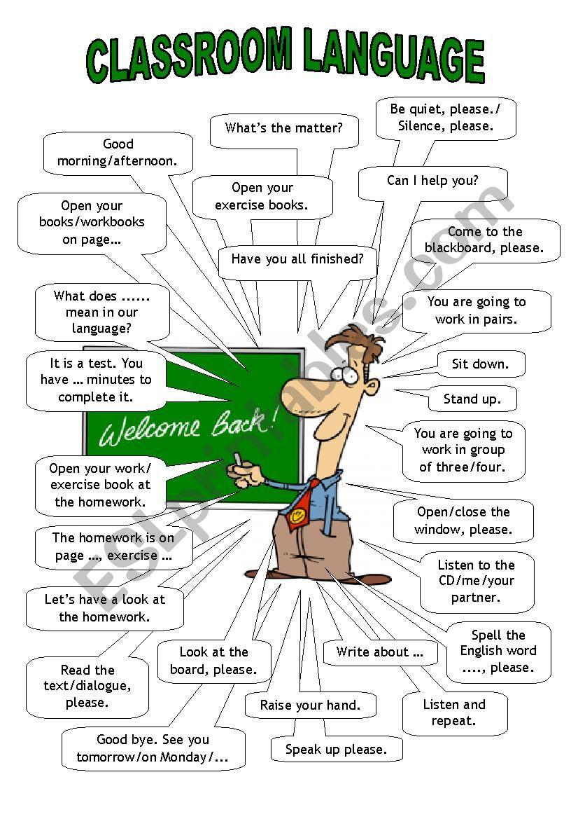 Classroom Language/ teacher worksheet