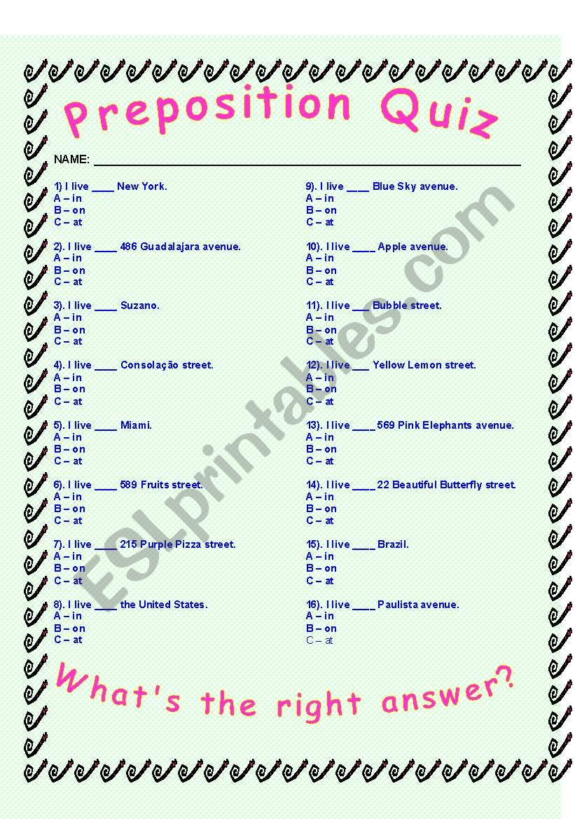 Preposition Quiz - IN/ON/AT worksheet