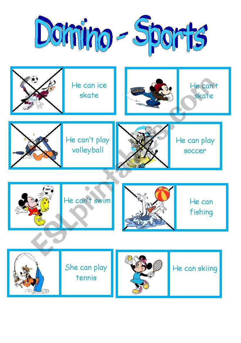 SPORTS - CAN CAN´T --> Domino - ESL worksheet by Teacher Paty