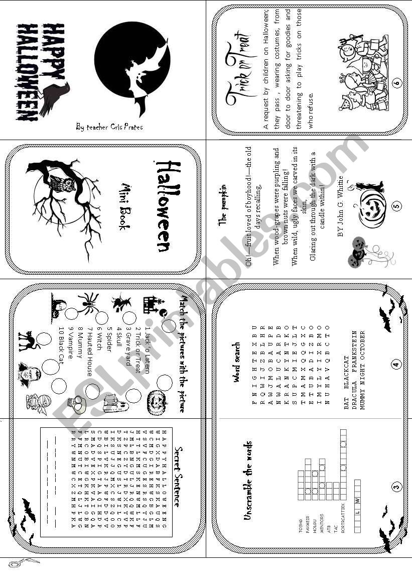 Halloween mini book worksheet
