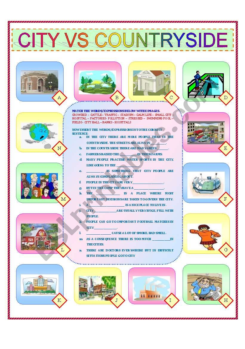 CITY VS COUNTRYSIDE worksheet