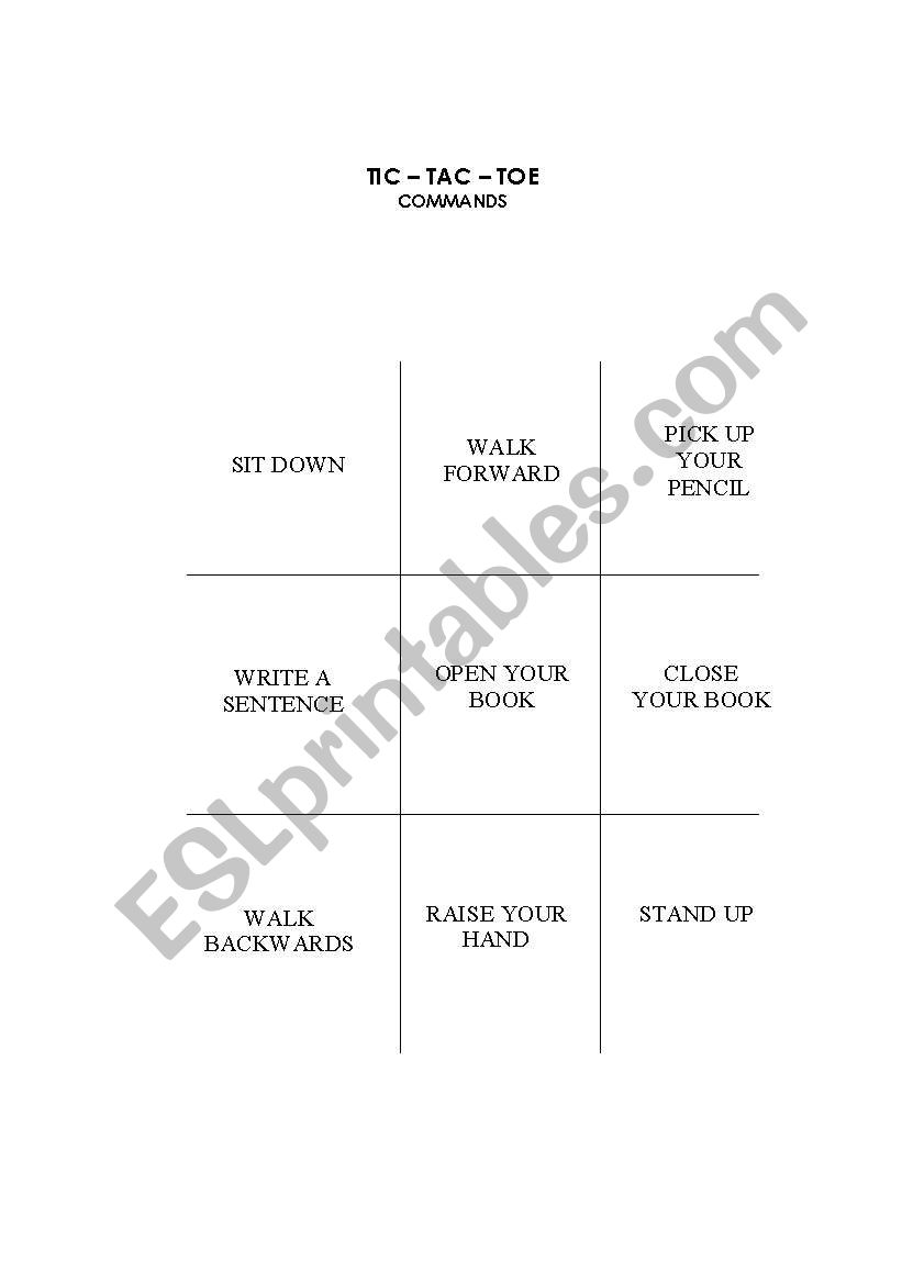 TIC-TAC-TOE worksheet