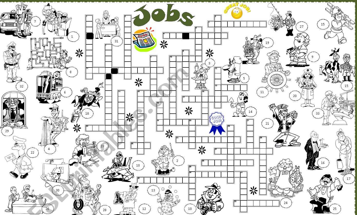 jobs crossword worksheet