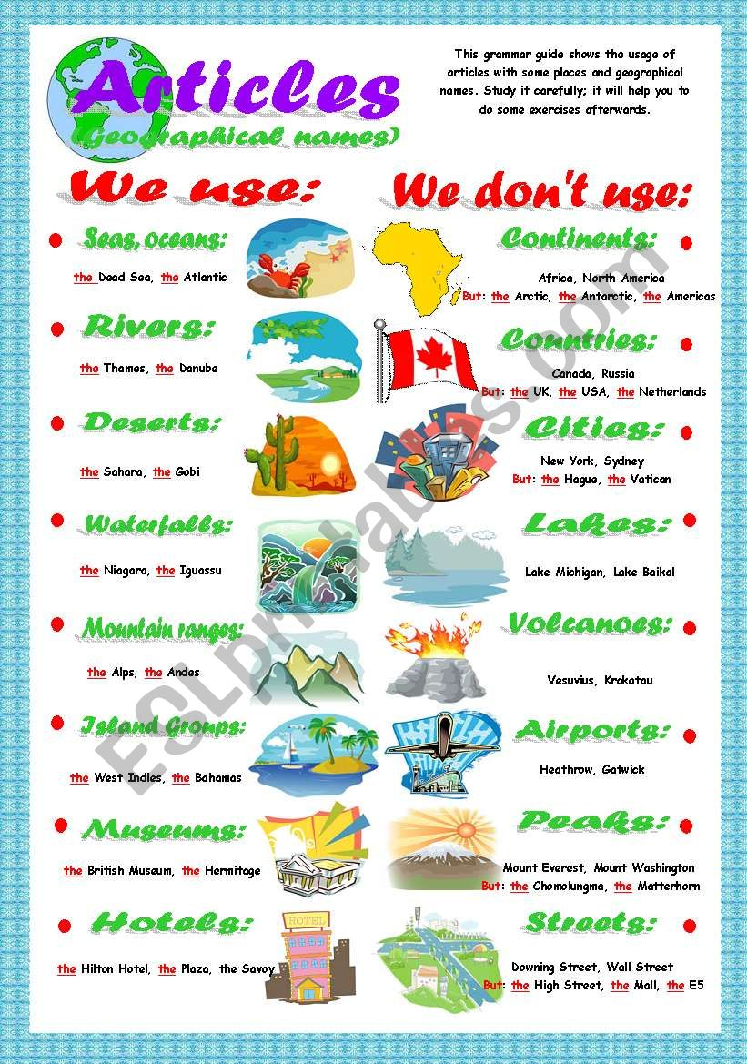 Articles (geographical names) worksheet