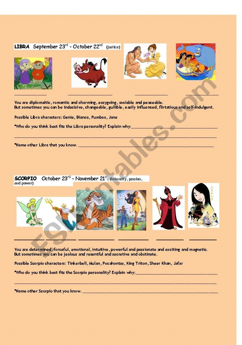 Disney characters and their zodiac signs - ESL worksheet by