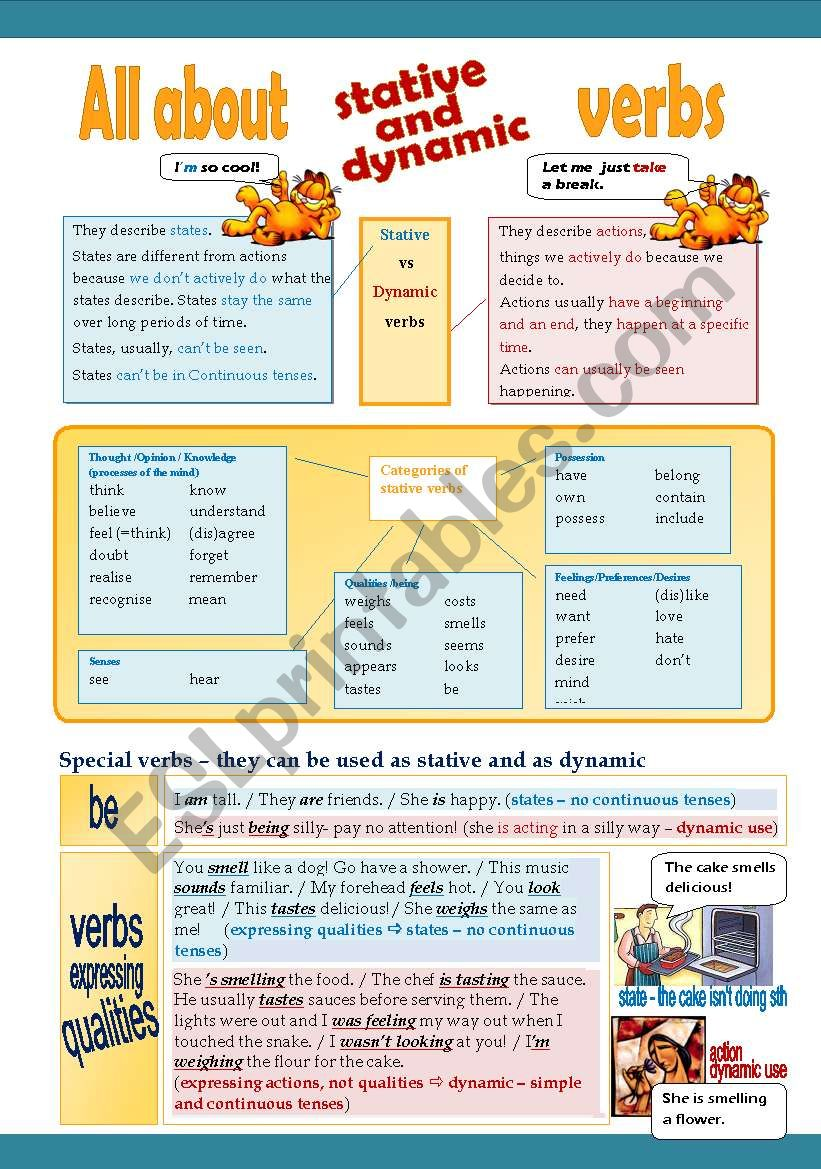 Stative Verbs - Presentation and Worksheet - 3 pages