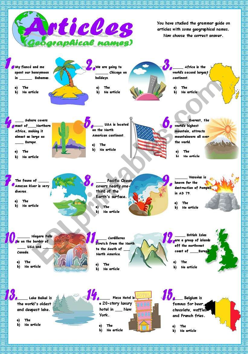 Articles (geographical names exercises)
