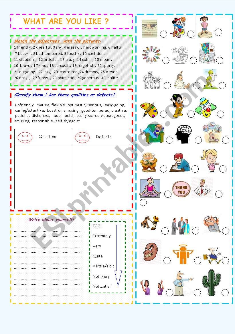 What are you like? worksheet