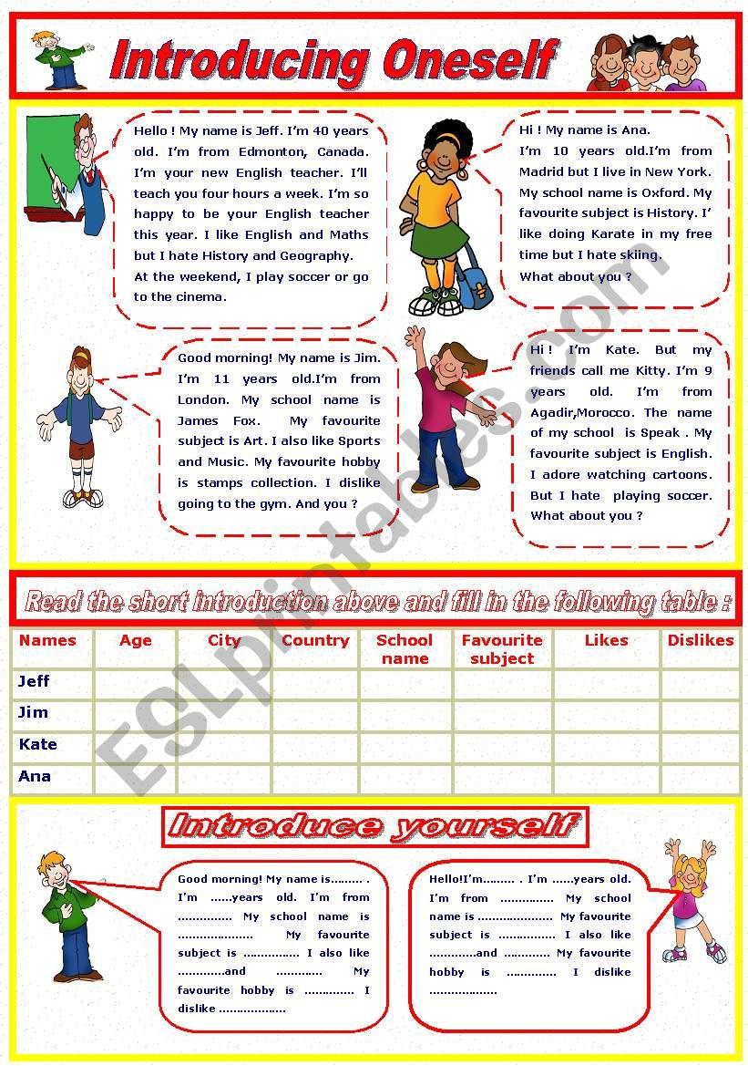 Introducing oneself worksheet