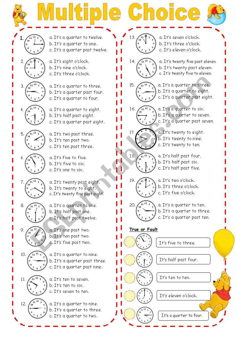 Multiple Choice ( Time ) worksheet