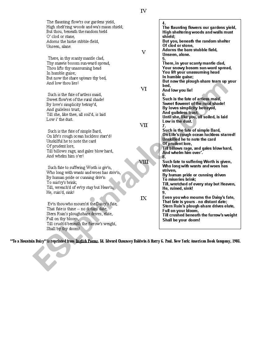 robert burns and his poetry : test (Special Days - step 22