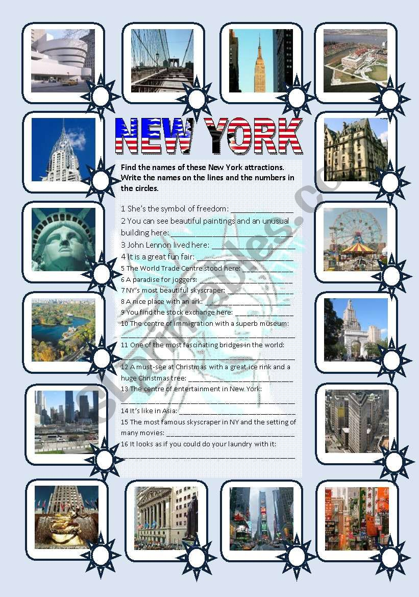 New York sights - pictionary, matching and fill-in exercise (editable, with key)