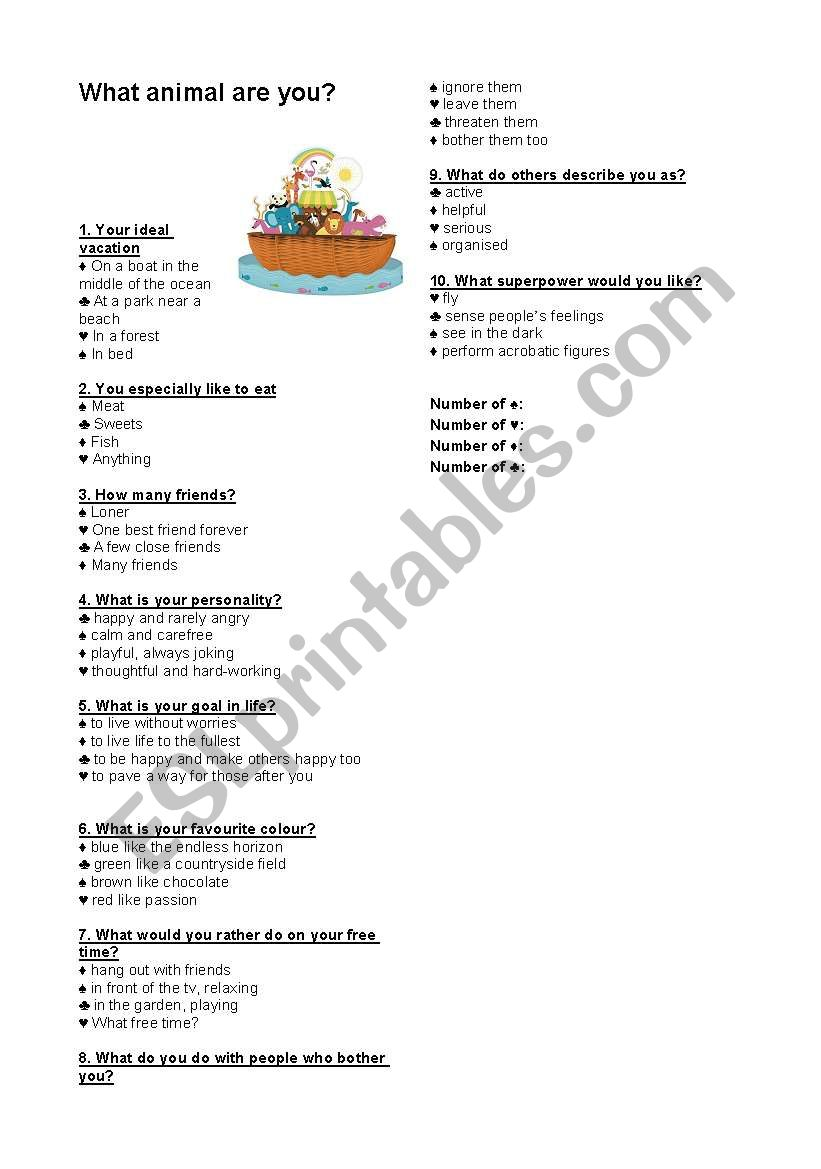 photograph about Personality Quiz Printable identify Character Quiz : What animal are yourself? - ESL worksheet via