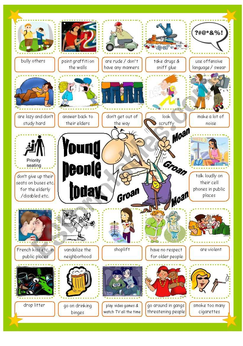 Grumpy OAP Complaining about Young People Today Pictionary, Suitable for Use with Topics such as Generation Gap, Newspaper Editorials etc.