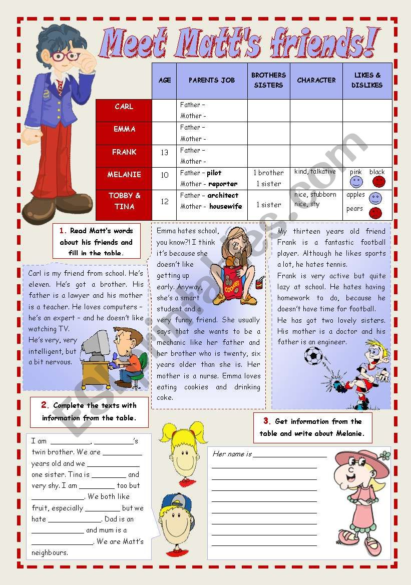 MEET MATT´S FRIENDS! worksheet