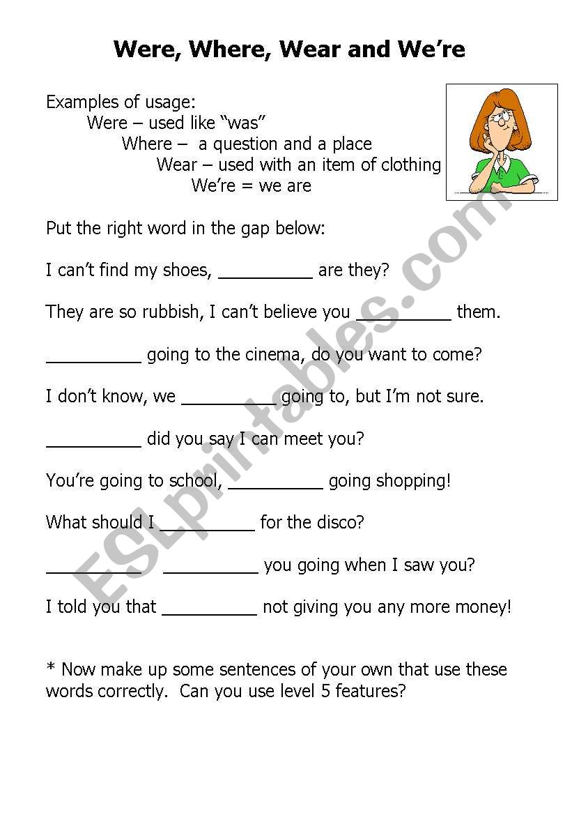 Were Where Wear And Were Esl Worksheet By Larissahay