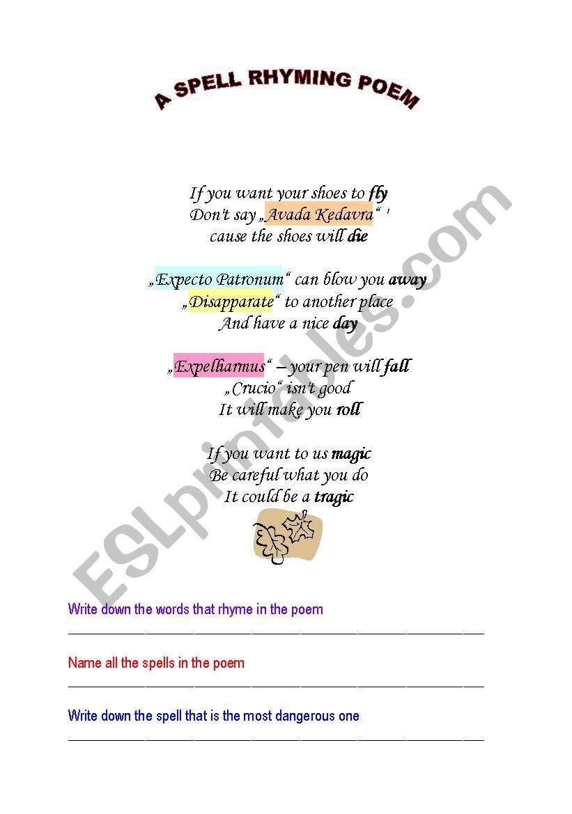 Harry Potter spells-rhyming poem - ESL worksheet by vuksan