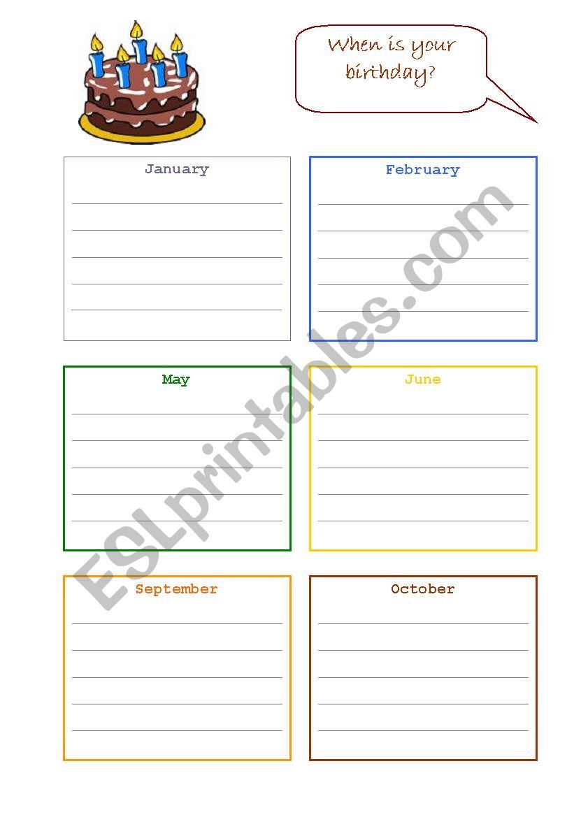 Birthday Calendar worksheet