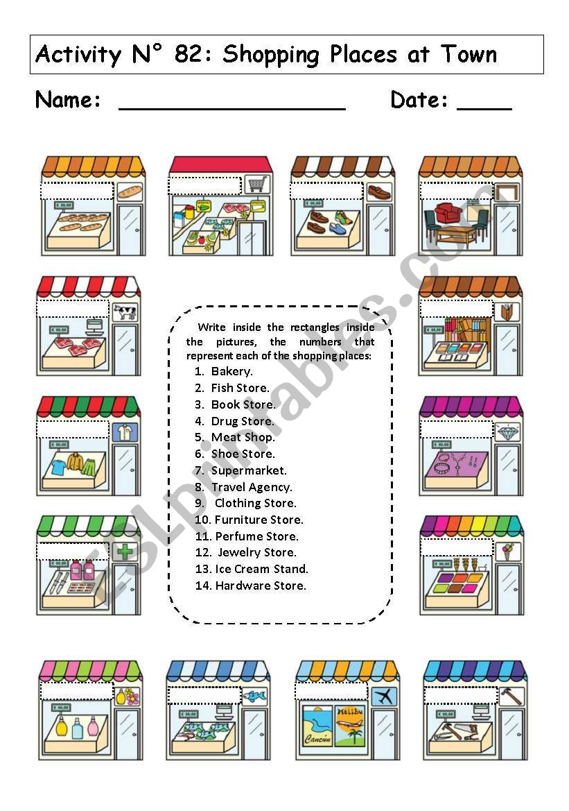 SHOPPING PLACES AT TOWN worksheet