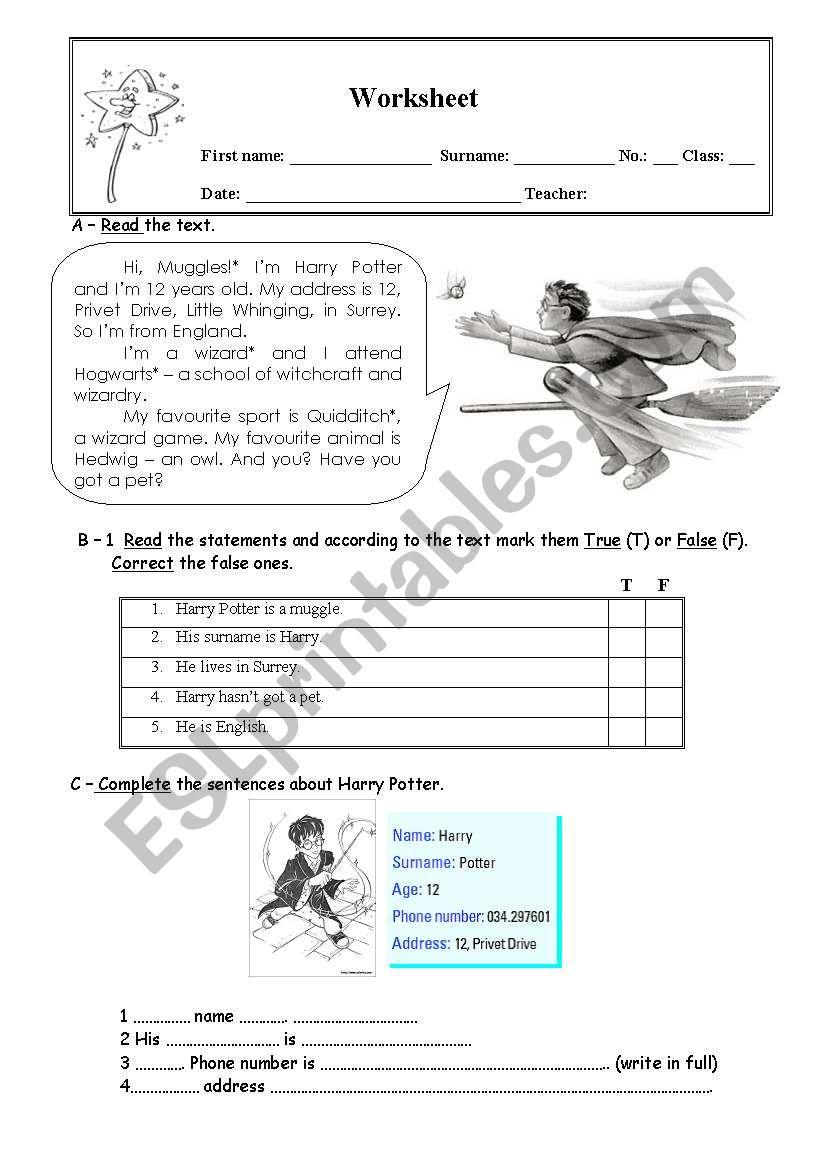 Harry Potter worksheet