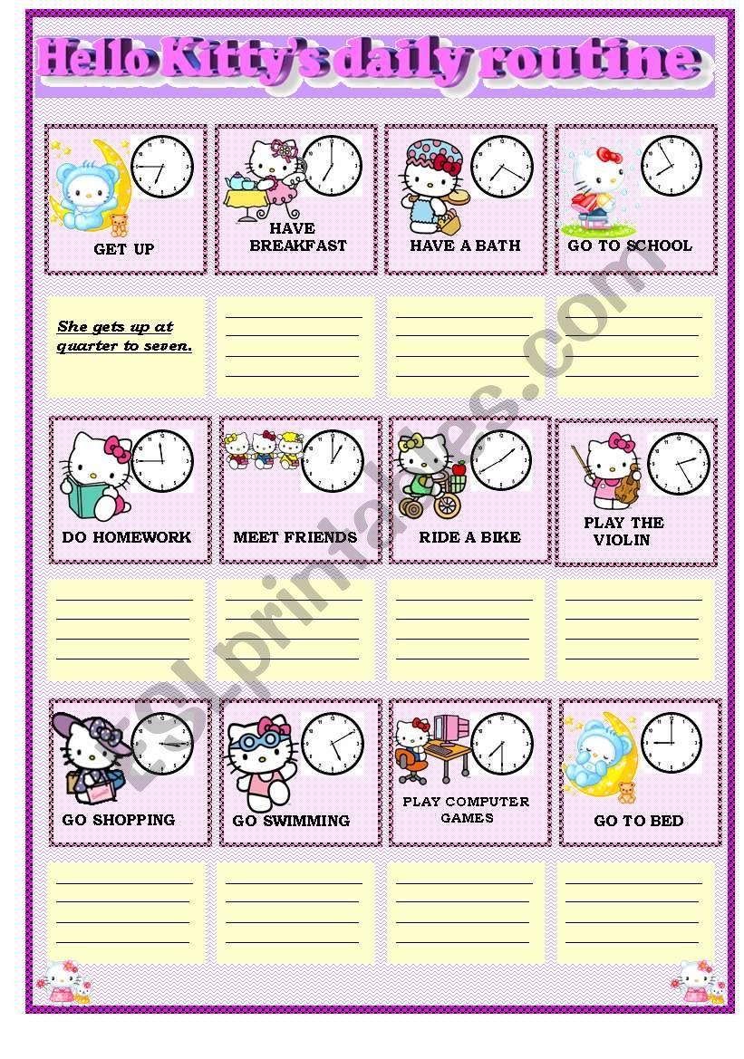 Hello Kitty´s daily routine worksheet