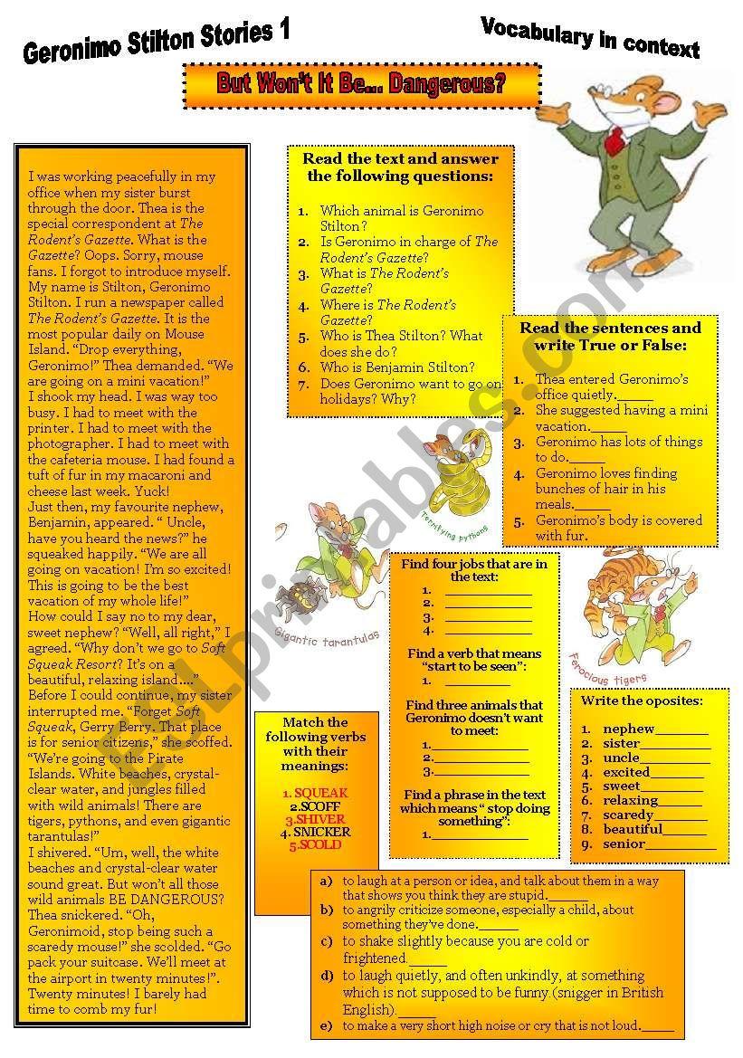 Geronimo Stilton Stories 1. worksheet