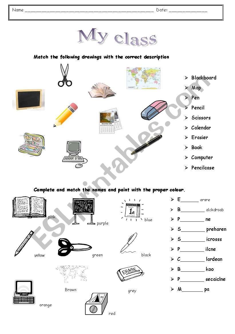 My class worksheet