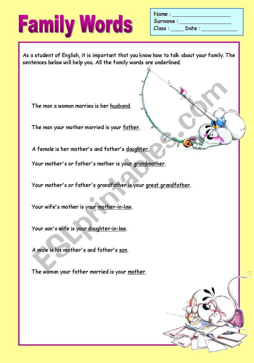 Family Words Poster worksheet
