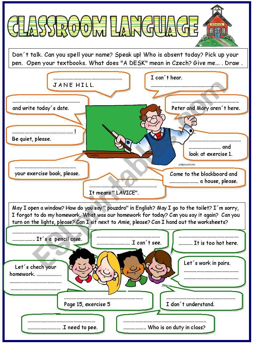Classroom language -  the key included