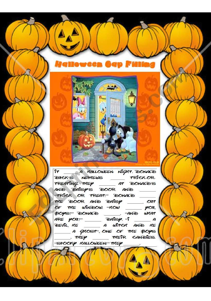 halloween gap filling - past simple and present simple - esl