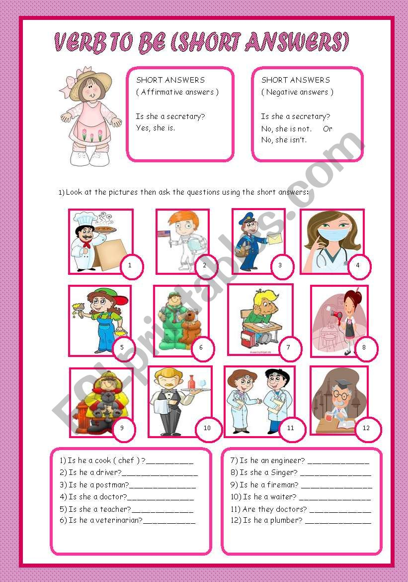 SHORT ANSWERS ( VERB TO BE ) worksheet