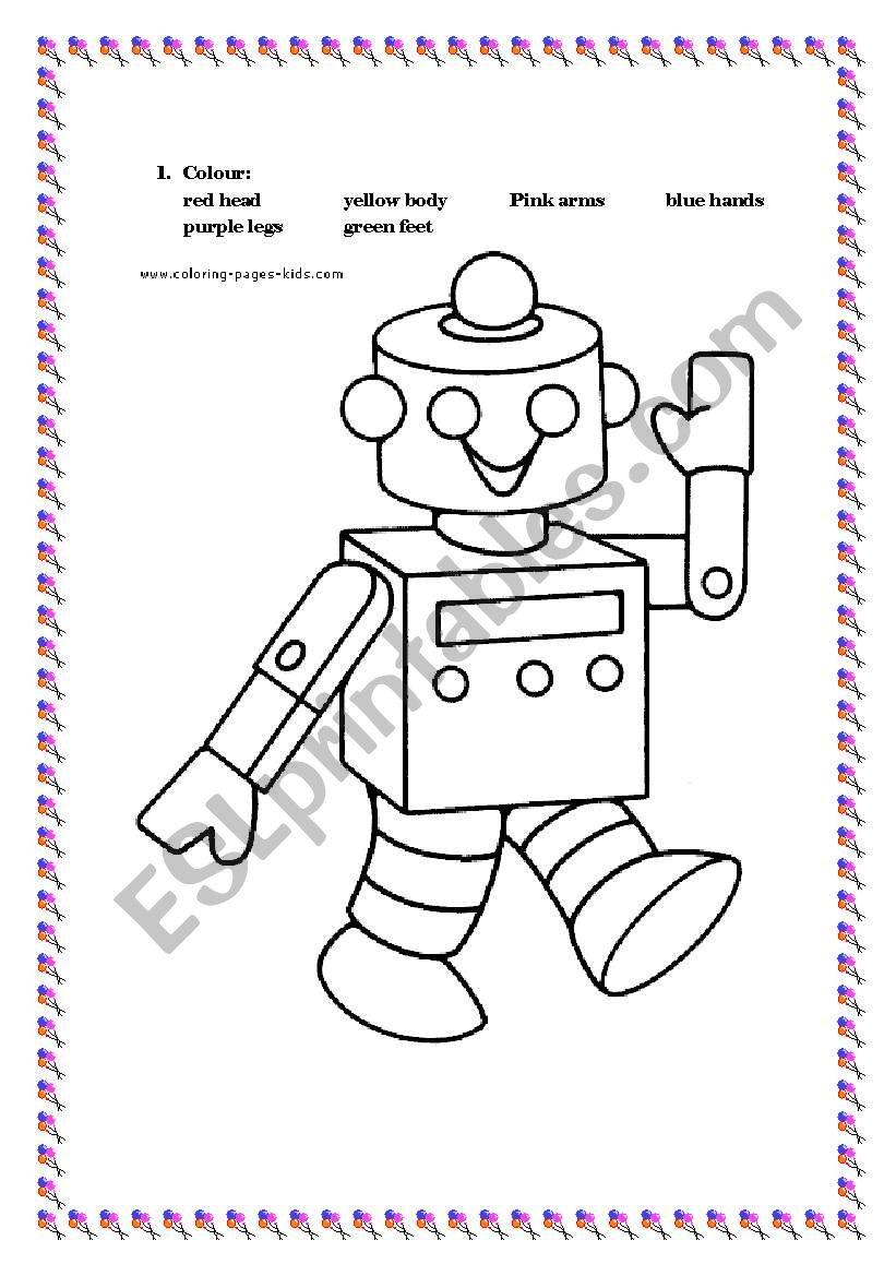 Robots Coloring Page Esl Worksheet By Simonne